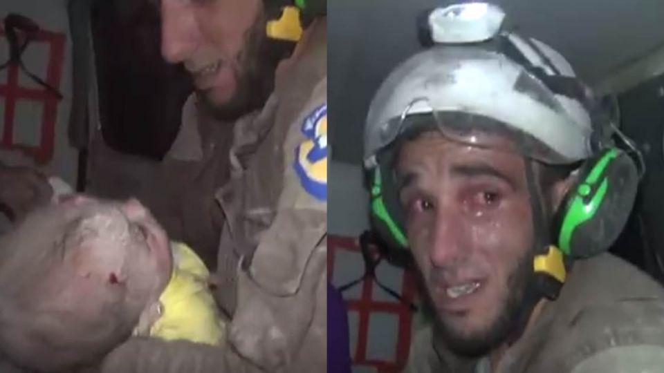 瓦礫堆下有聲音!敘救難員搶救出生30天女嬰 狂落男兒淚