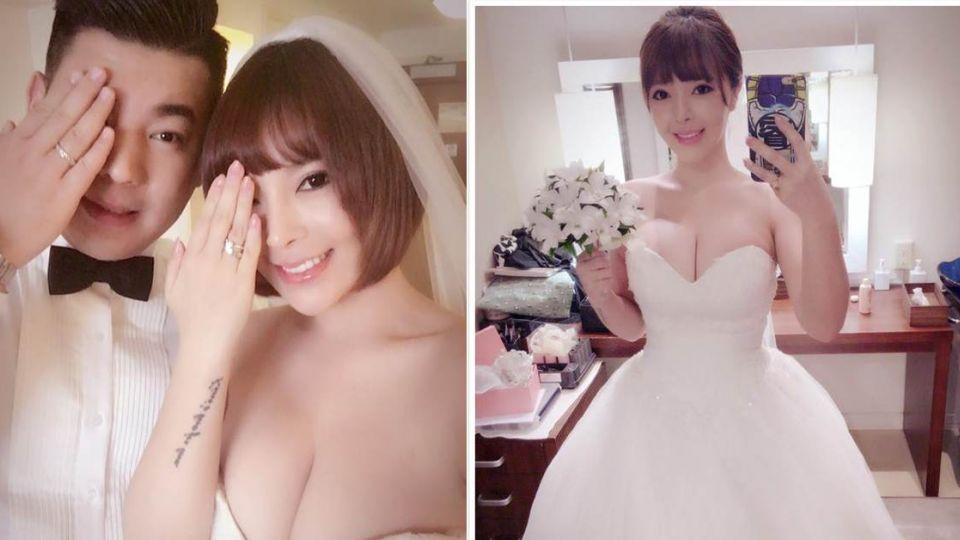 美女書法家婚了!關島捧花披白紗「美炸」粉絲臉書