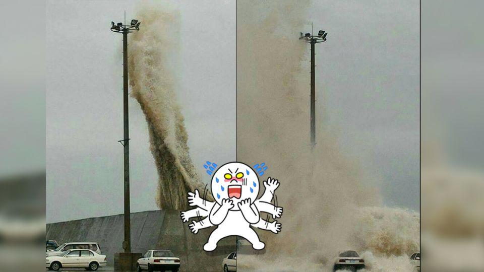 【影片】傻了!海馬颱風使出「水系攻擊」 堤防內的車…開花了