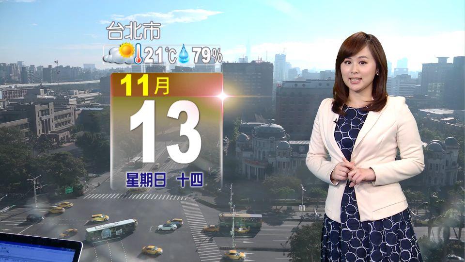 【2016/11/13】水氣少僅東部飄雨 西部多雲到晴溫差大