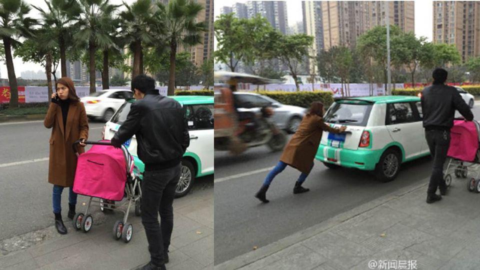全家出遊車沒電!為省錢老公推娃娃車 老婆推……汽車走幾百公尺