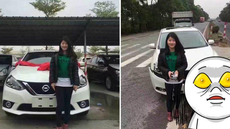 女子牽新車拍照留念 9分鐘後再拍一張…毀了?