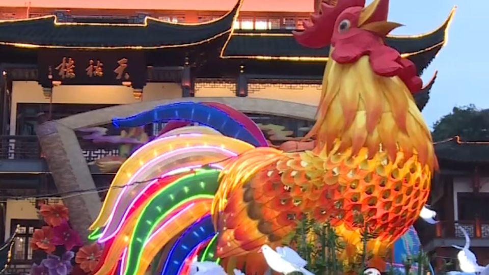 上海燈會主燈金雞報喜 單日遊客17萬人