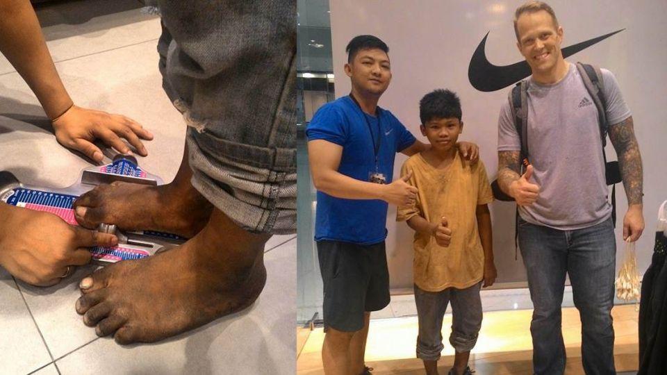 感動!不忍貧童赤腳賣花 暖心遊客送「人生第一雙鞋」