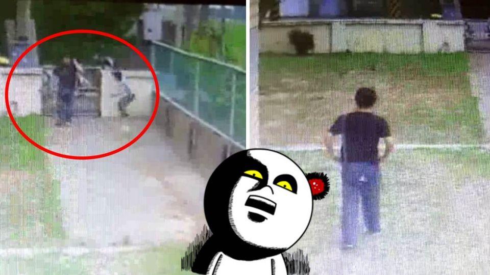 【影片】噁!怪叔叔邀男童翻牆進校園 竟轉身脫褲「幫我拍屁股!」