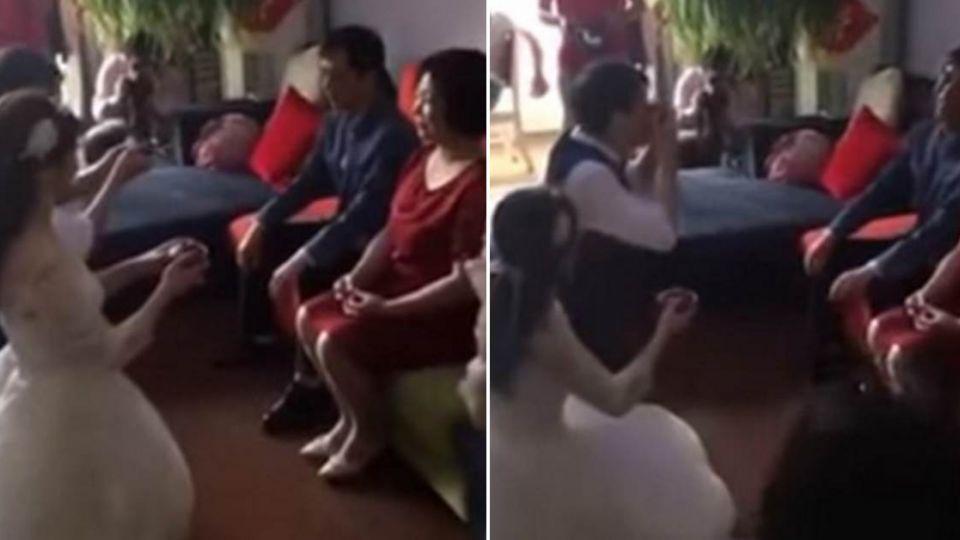 【影片】新郎向岳父奉茶…下一秒居然「這樣做」 網笑:回去跪不完了