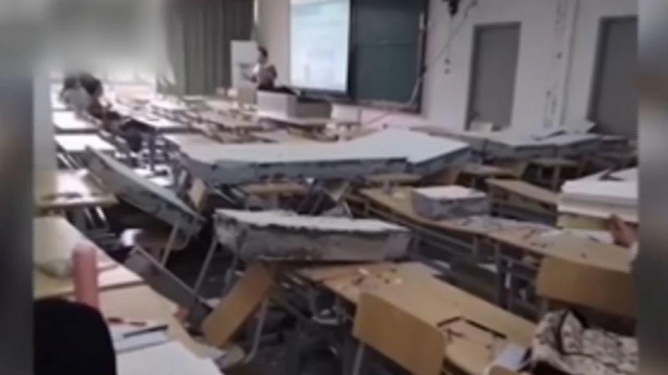 砰! 上課上到一半…教室牆倒了 校方神回覆:風太大