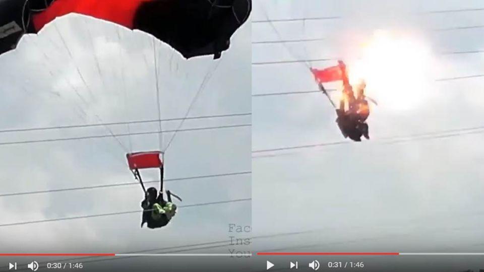 【影片】悚!女兵跳傘誤觸電纜 爆炸成火球畫面曝光