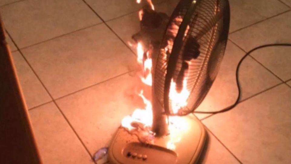 轟!賣場牌電扇開整夜 燒成火球民眾嚇醒
