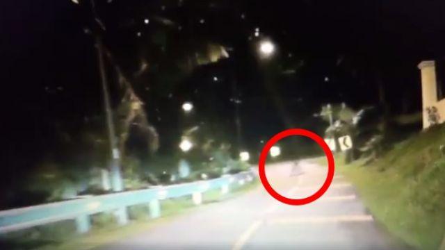 【影片】暗夜深山路燈閃…「白色形體」癱坐路中央 駕駛嚇到倒退嚕