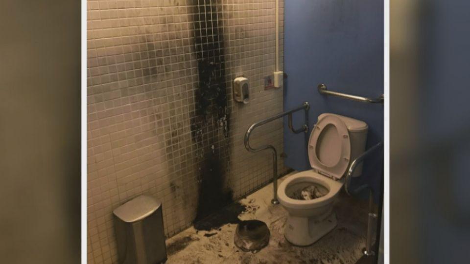 西門國賓戲院火警廁所焦黑 警逮縱火嫌