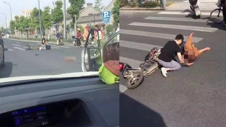血肉模糊!男騎電動車闖紅燈遭撞飛 「人腿分離」慘不忍睹