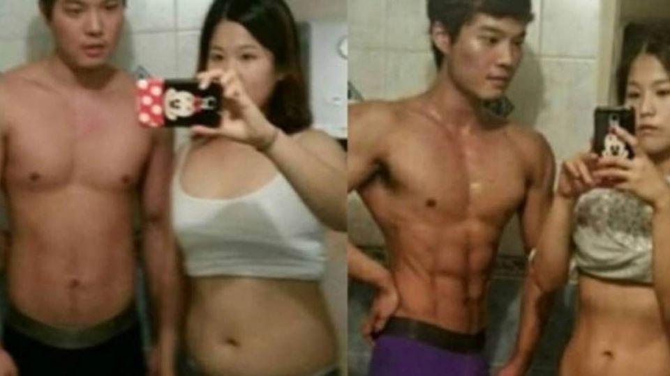 不要幸福肥!韓國情侶4個月甩25KG 變身超閃筋肉人