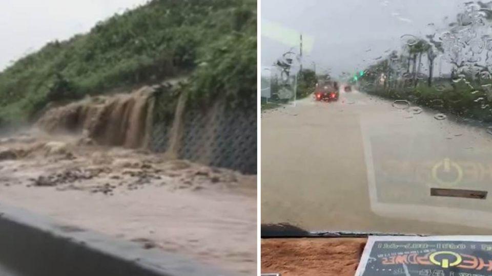 超危險!北海岸公路「崩塌」成瀑布 民眾行經嚇到尖叫
