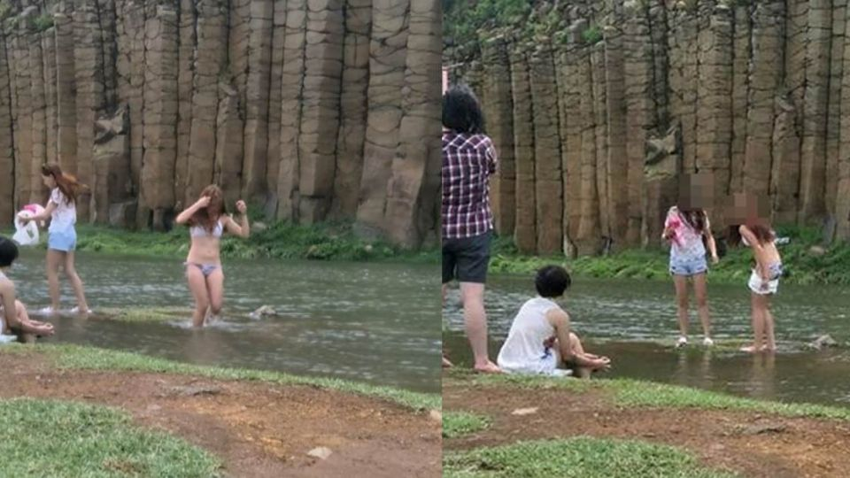 「脫了!」比基尼辣妹玄武岩前戲水 遊客看傻眼:好髒!
