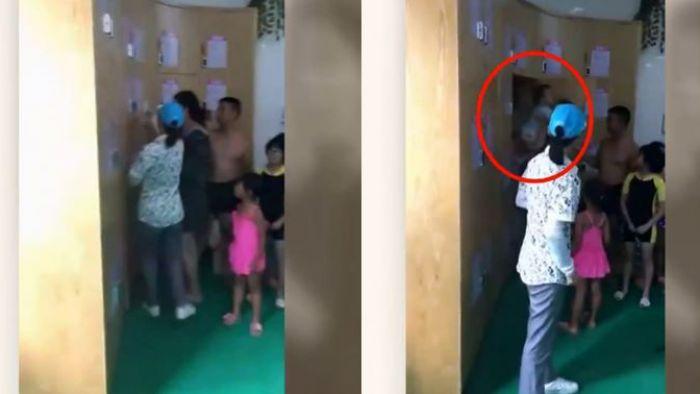 【影片】扯!這對父母疑將小孩鎖澡堂「寄物櫃」