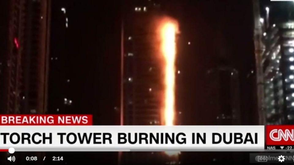 快訊/2年來第2次!杜拜86層火炬大廈竄惡火延燒迅速