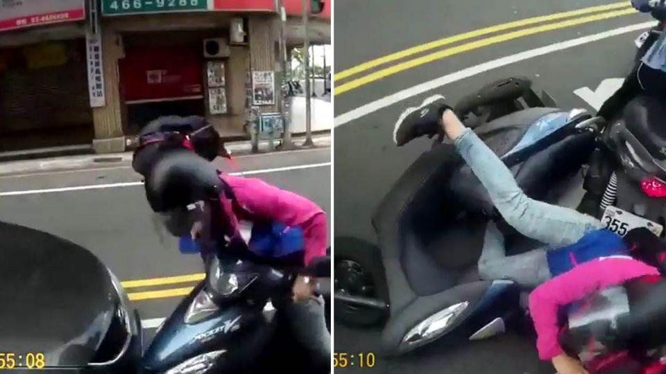 女騎士「直直撞」逆襲大彎道!慢動作倒下讓網友笑瘋