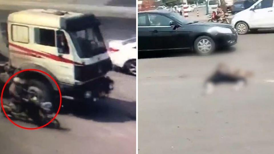 【影片】悚!油罐車轉彎狠撞騎士 前後輪輾過慘變「扁屍」