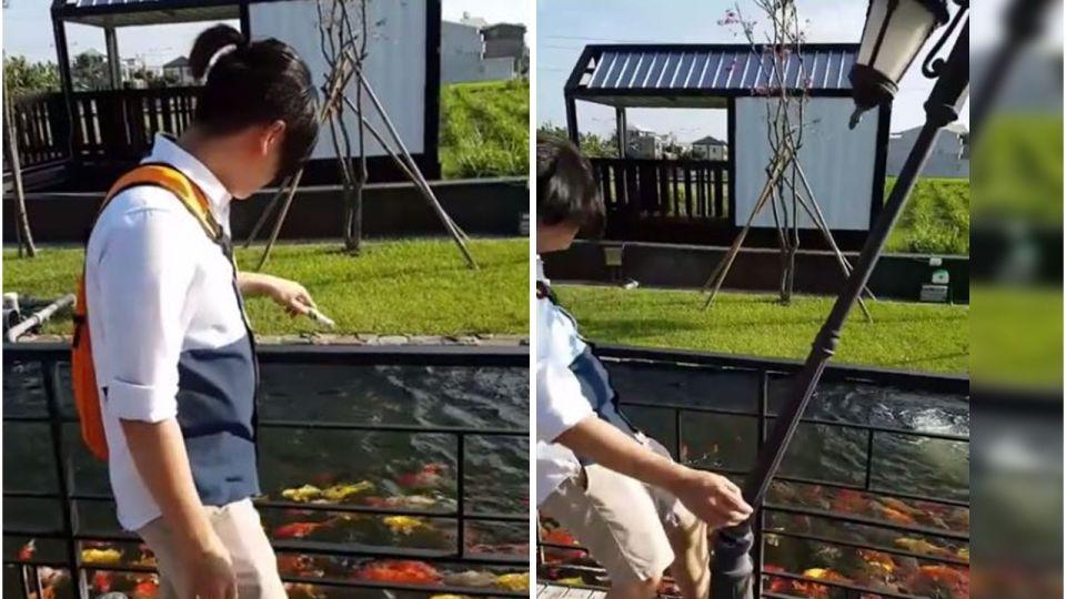 【影片】爆笑!他餵魚沒看路「撞歪」路燈 網笑:內力深厚