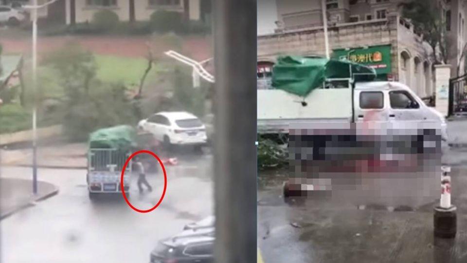 天鴿來襲 貨車不敵強風…男雙手支撐慘遭壓死