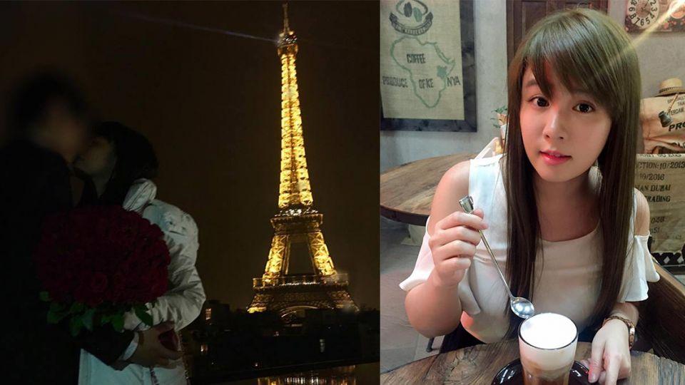 巴黎鐵塔見證愛情!男友捧100朵玫瑰花求婚 小小瑜感動噴淚