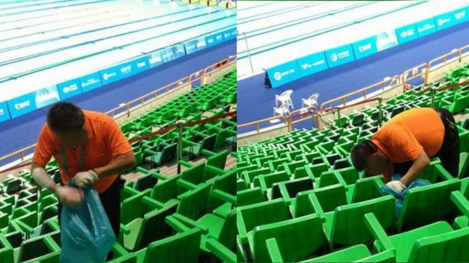 好心疼…世大運垃圾塞椅縫 清潔人員「滿身貼布」挖到半夜