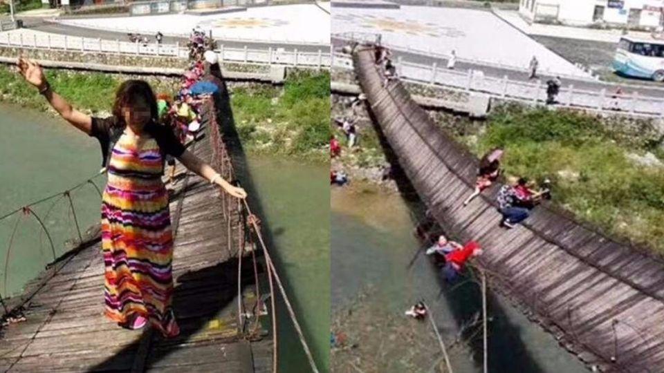 無視警告!大媽張臂踩吊橋 一個搖晃…橋面翻覆15人落水