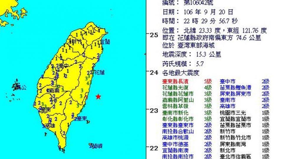 全台天搖地動!東部近海22:29「規模5.7地震」 台東震度5級