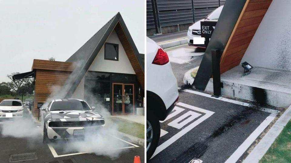 沒品!改裝車故意「燒胎」噴黑最美的星巴克 網友怒肉搜車主