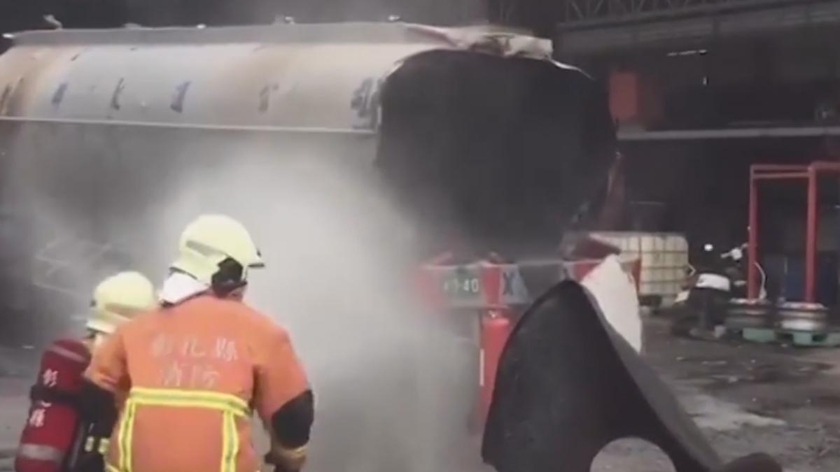 油罐車焊接火星引燃油料 工人被炸10米遠