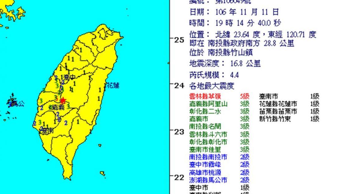 南投竹山2天「連12震!」 20:22再發生「5.1地震」