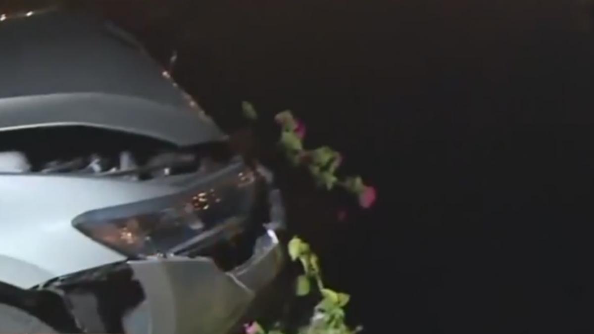 酒駕載妹回家險「墜入愛河」 石柱擋路救命