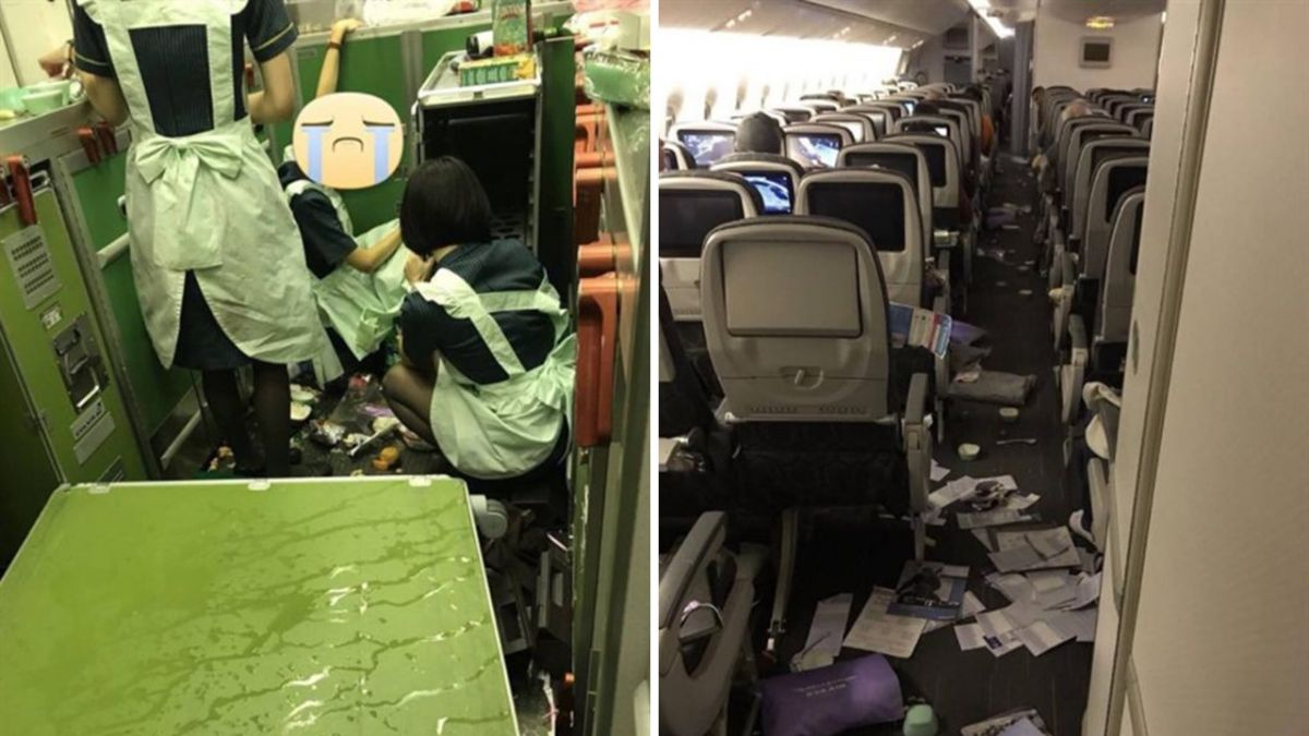 畫面曝光!長榮航班遇強烈亂流 空姐被甩飛跌坐受傷