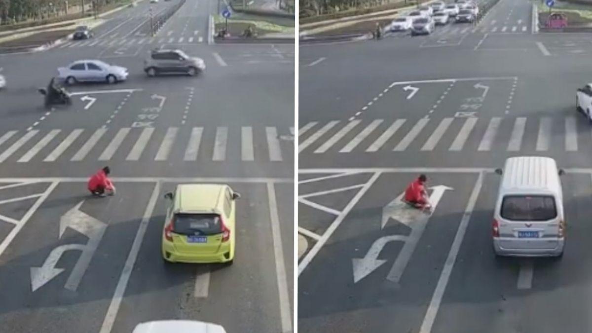 【影片】史上最強PS!奇葩男不爽塞車 竟手動開路全民驚呆