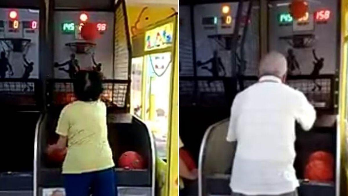 【影片】PK投籃機嗆「叫你阿嬤來啊」 超狂2老一出手他崩潰秒後悔