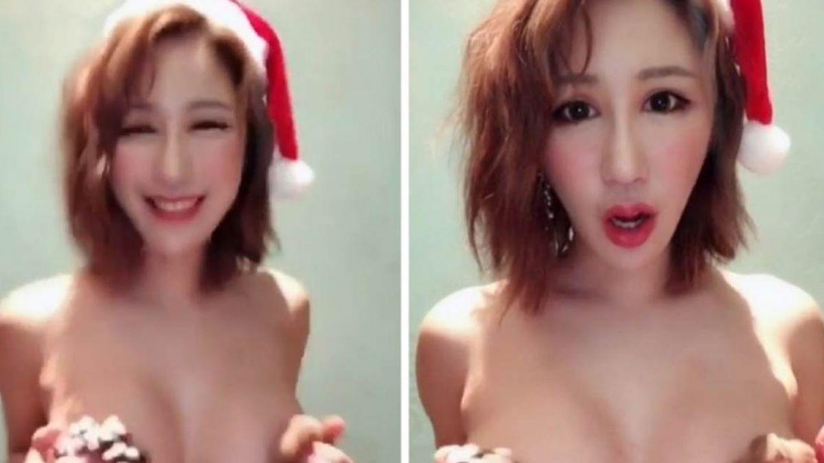 【影片】巨乳正妹全裸慶耶誕! 甜甜圈猛烈揉乳餵粉絲