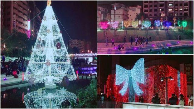 蝴蝶結禮物盒、閃亮雪白耶誕樹、可愛Q版小雪人,台中最美的聖誕節造景在柳川水岸
