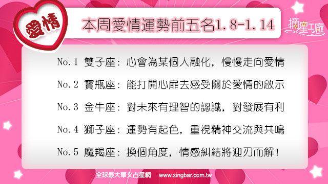 12星座本周愛情吉日吉時(1.8-1.14)