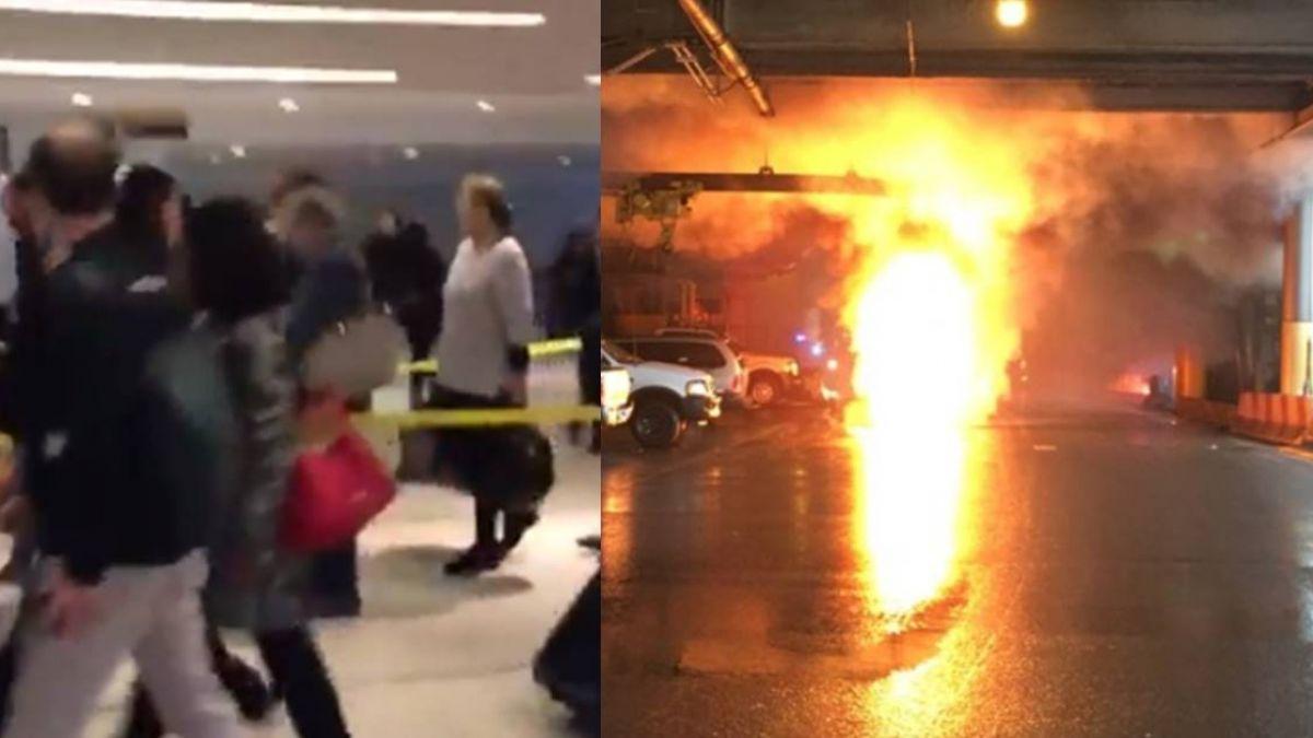 紐約機場變電箱爆炸 火光四射…百人緊急疏散