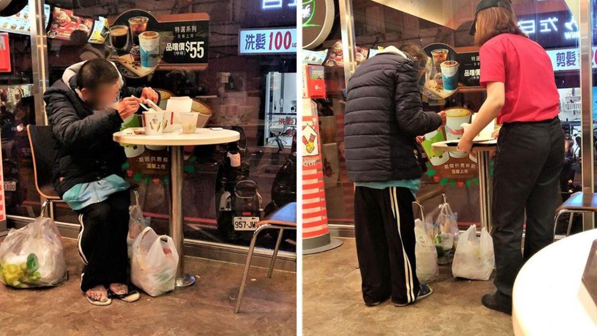 街友躲寒風…麥當勞吃剩菜!男託店員送熱濃湯 網讚爆:熱起來了