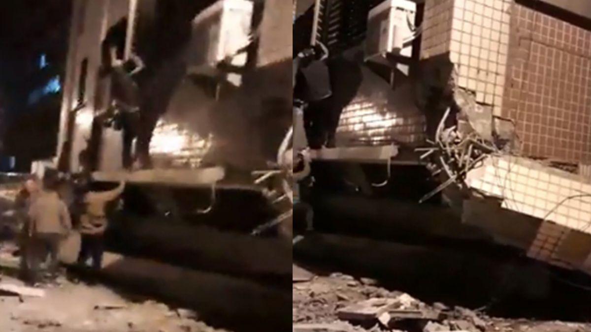 劫後心聲!6.0強震大樓崩落 倖存住戶發抖:我被甩回客廳