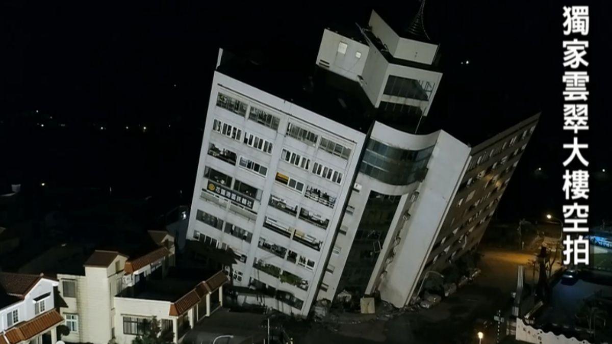 【獨家】空拍直擊!雲翠大樓傾斜逾33度 消防員:憂再倒塌