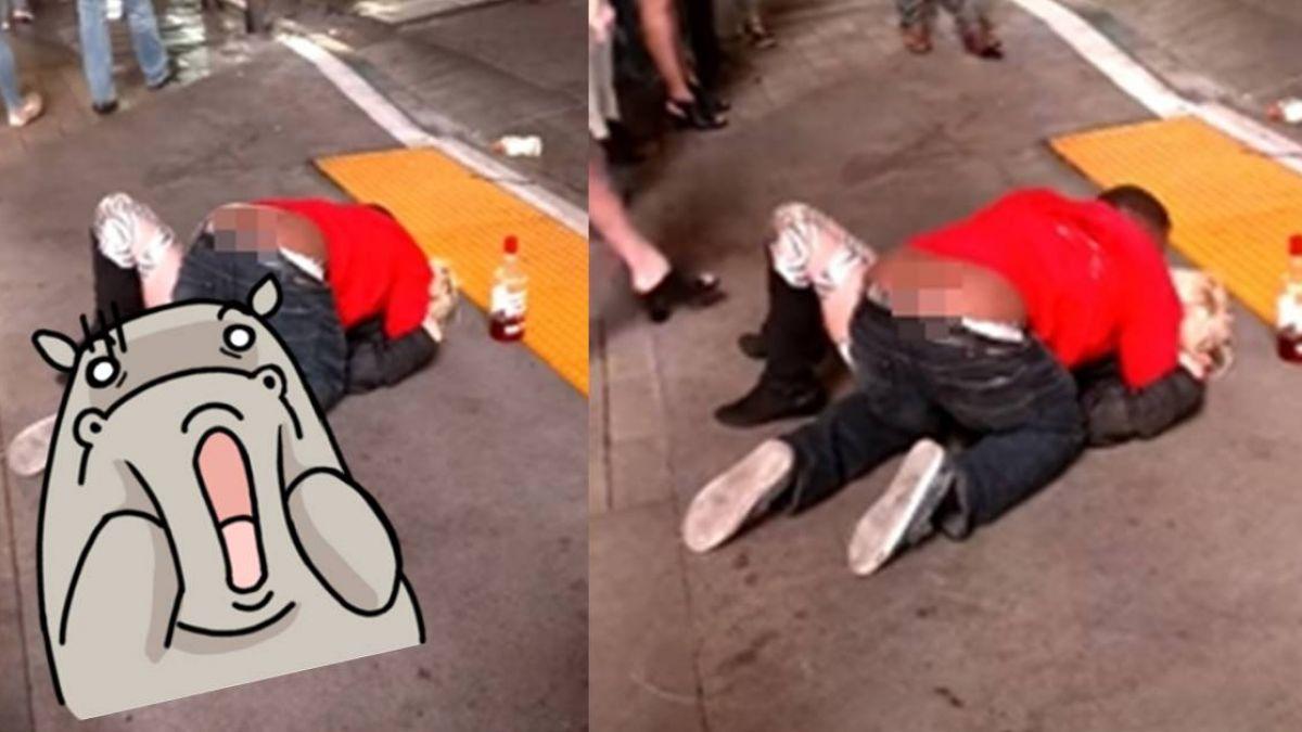 噁!男街頭撿屍金髮妹跪地激吻 路人見死不救還嘻笑錄影