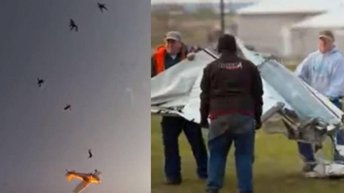 表演失誤!兩飛機空中相撞爆炸 11人跳傘逃生超驚險