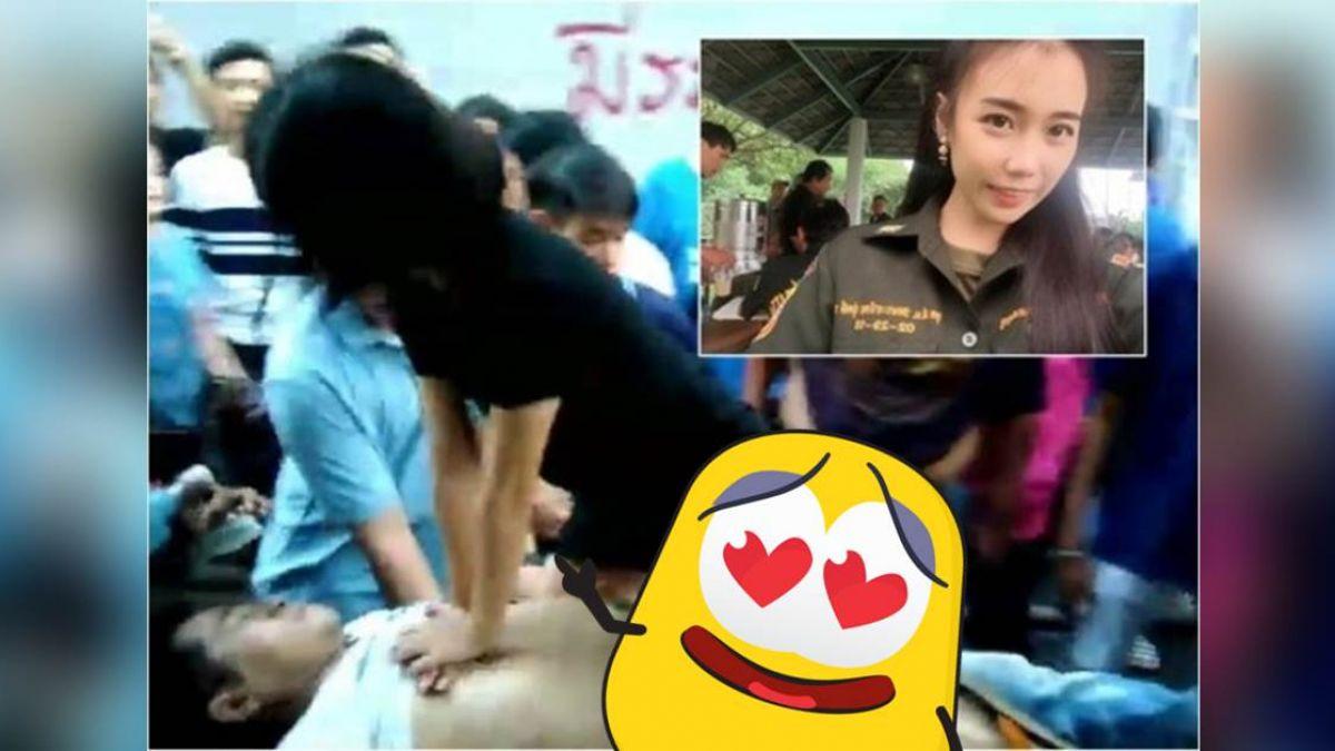 【影片】熱血!正妹跨坐擔架CPR救人 網友歪樓關注白晰美腿