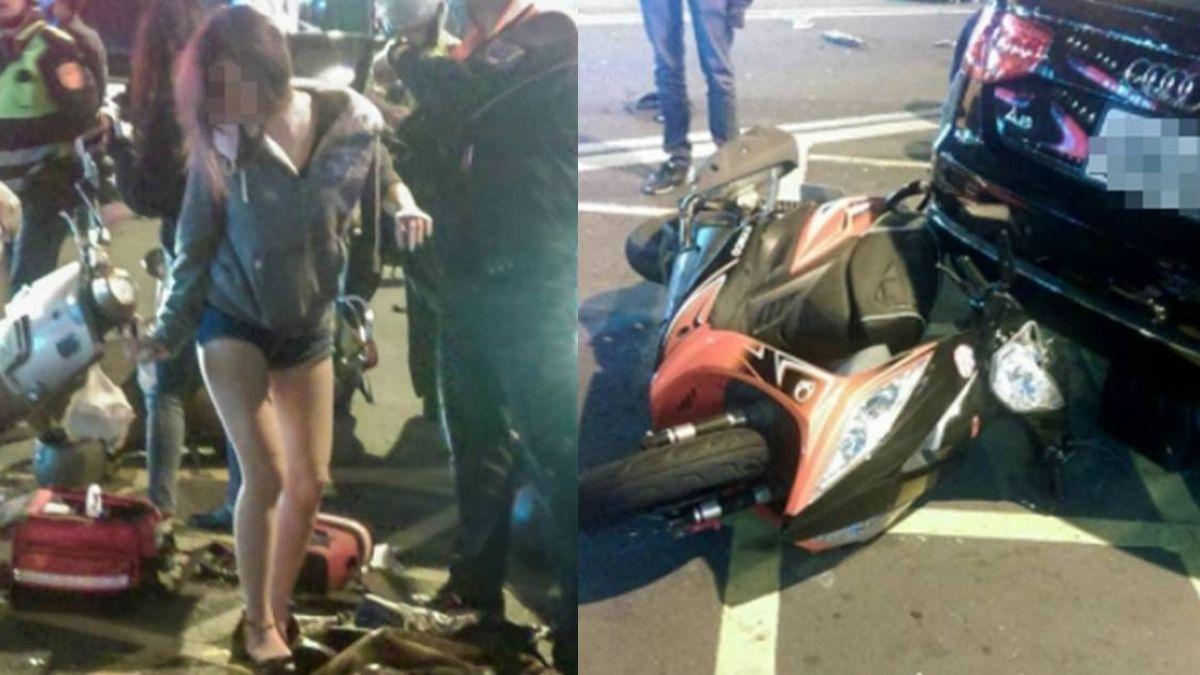 三寶迴轉3機車撞一團 女傷者白皙美腿超吸睛
