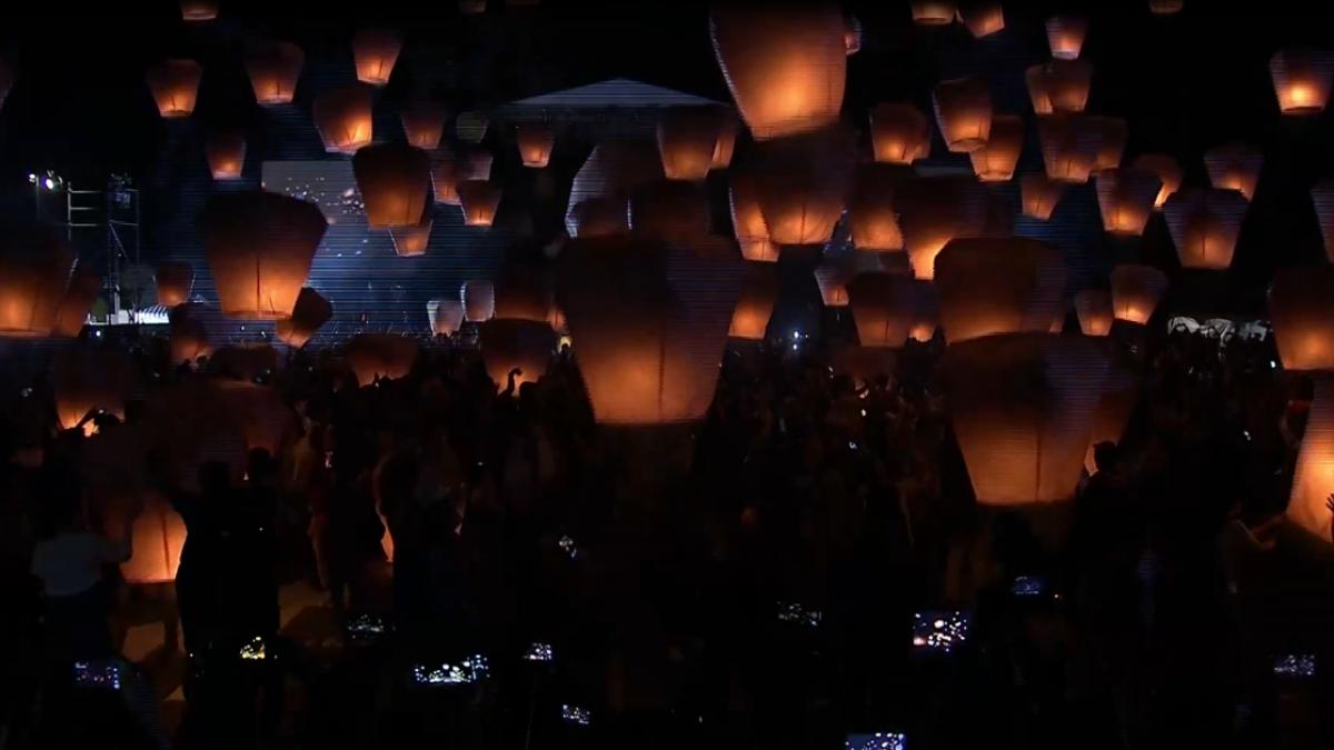 平溪燈節Hello Kitty主燈升空 湧入數千遊客觀賞
