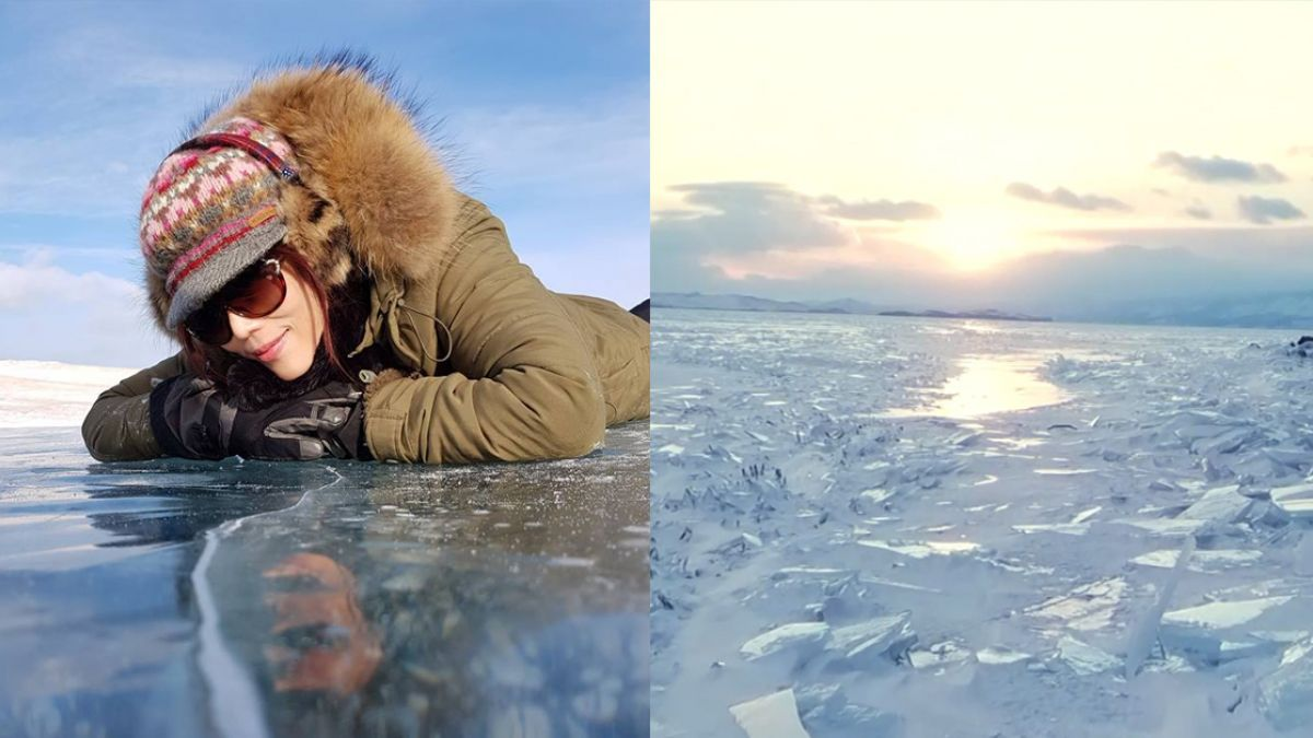 比南北極冷!美女主播化身艾莎踩冰喀喀叫 心驚:超怕掉下去