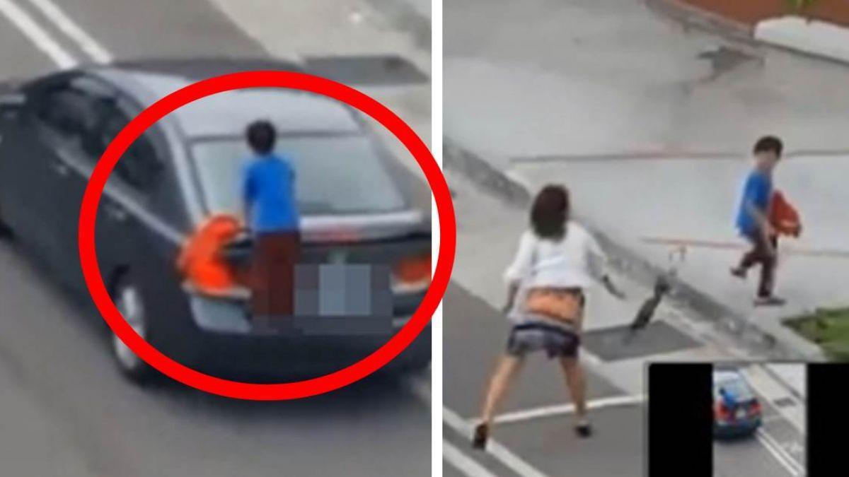 【影片】冷眼看兒懸掛車外 狠心母踩油門「放生」童淚崩:下次不敢!
